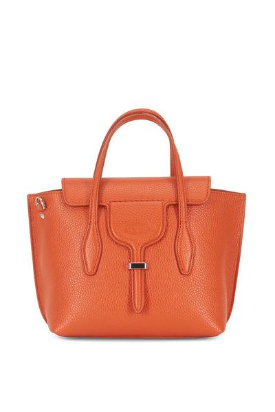 Tod's - New Joy Orange Pebbled Leather Mini Hobo Bag