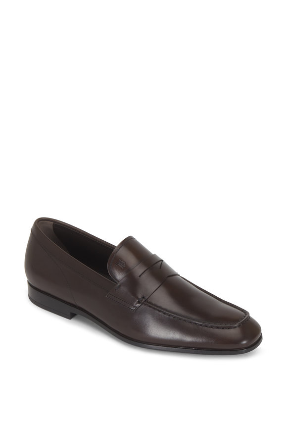 Tod's Mocassino Dark Brown Leather Penny Loafer