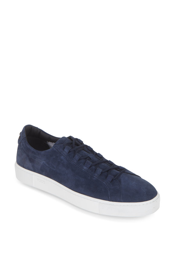 Tod's Navy Blue Suede Low-Top Sneaker