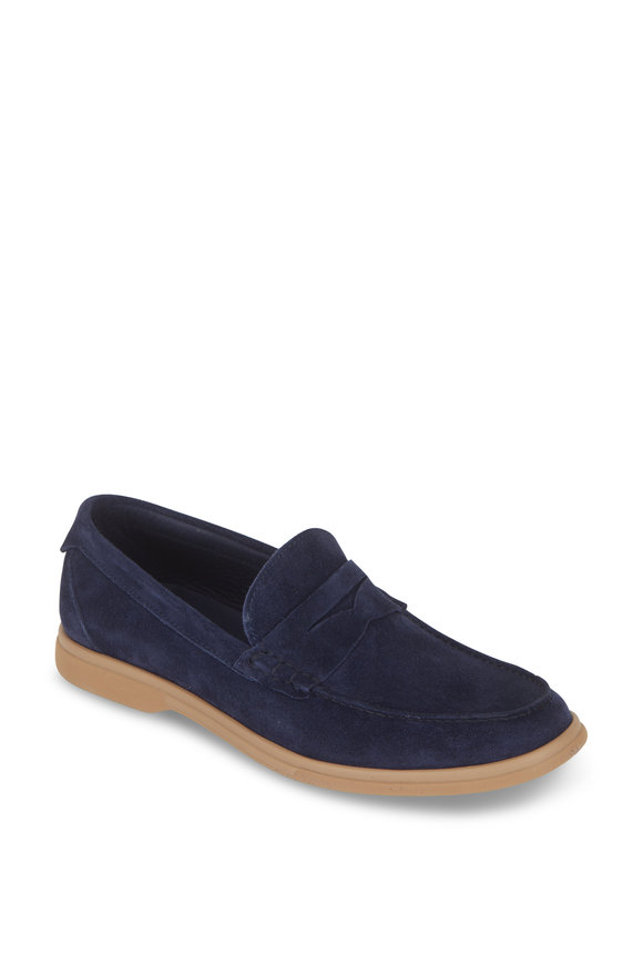 Brunello Cucinelli Ink Blue Suede Penny Soft Loafer