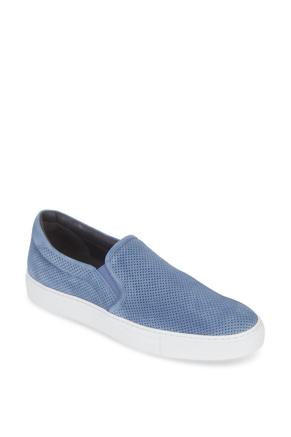 To Boot New York Racer Light Blue Perforated Suede Slip-On Sneaker
