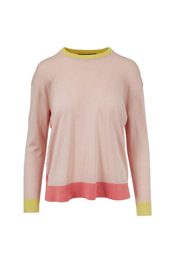 Paule Ka Powder Pink Bi-Color Silk & Cashmere Sweater