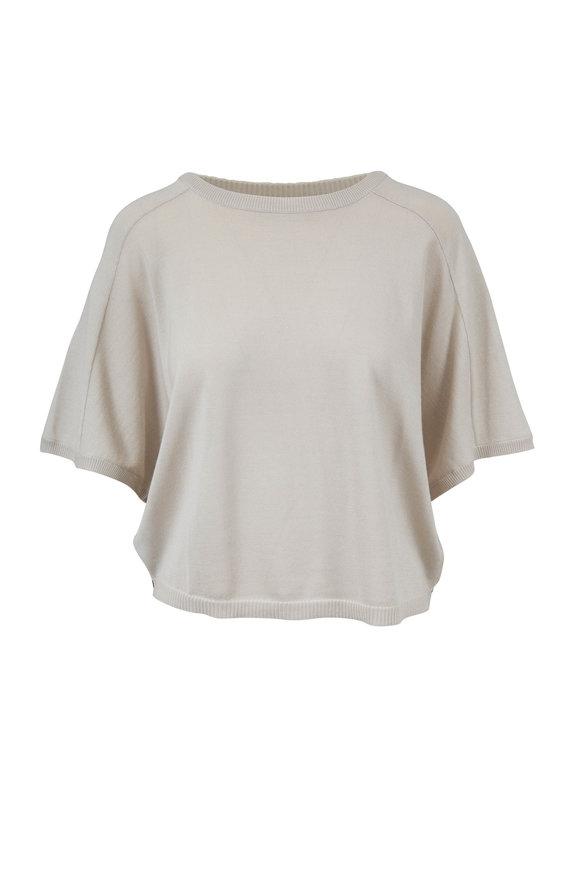 Derek Lam Bone Cashmere With Silk Back Batwing Sweater