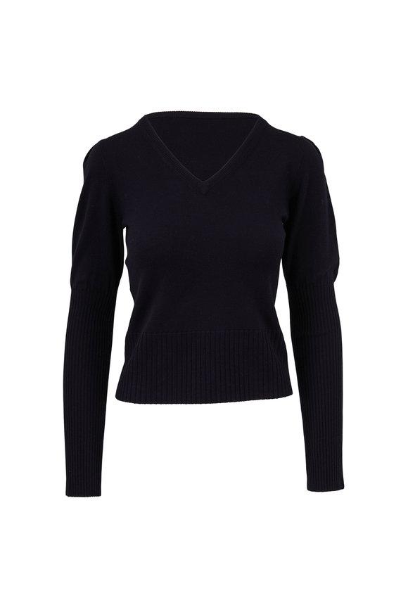 Derek Lam Black Puffed Sleeve V-Neck Sweater
