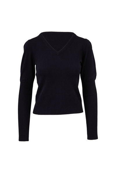 Derek Lam - Black Puffed Sleeve V-Neck Sweater