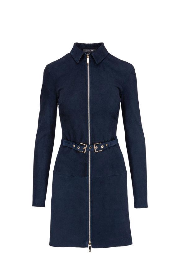 Jitrois Agatha Space Blue Stretch Suede Dress