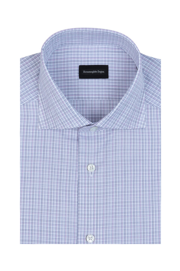 Ermenegildo Zegna Pink & Gray Check Dress Shirt