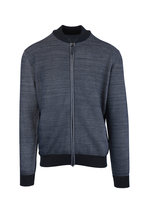 Brioni - Blue Wool & Silk Zip Sweater