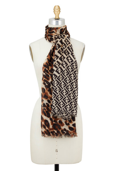 Fendi - Splash Black & Brown Dual Print Scarf