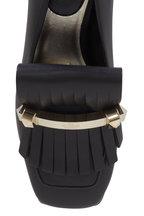 Valentino Garavani - Uptown Black Leather Kiltie Loafer, 45mm