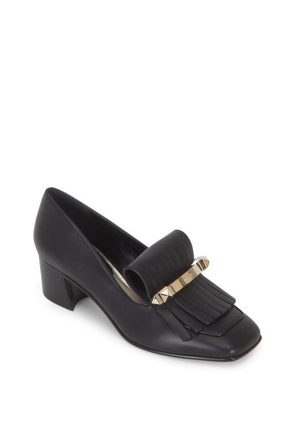 Valentino Garavani Uptown Black Leather Kiltie Loafer, 45mm