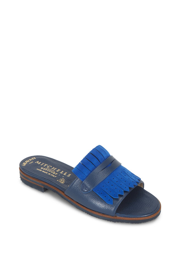 Gravati Micro Blue Leather & Suede Kiltie Slide