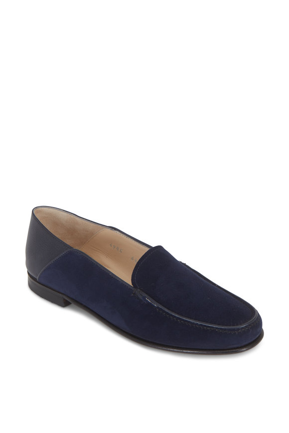 Gravati Navy Blue Suede & Black Leather Loafer
