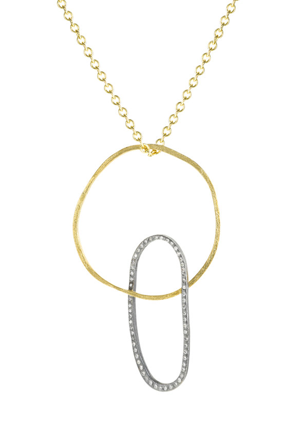 Todd Reed 18K Yellow Gold & Silver Double Circle Necklace