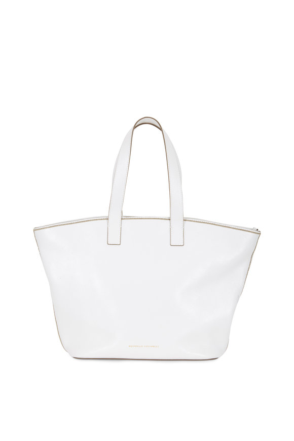 Brunello Cucinelli White Glossy Leather Medium Shopper Tote