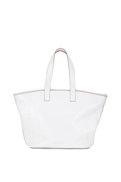 Brunello Cucinelli - White Glossy Leather Medium Shopper Tote