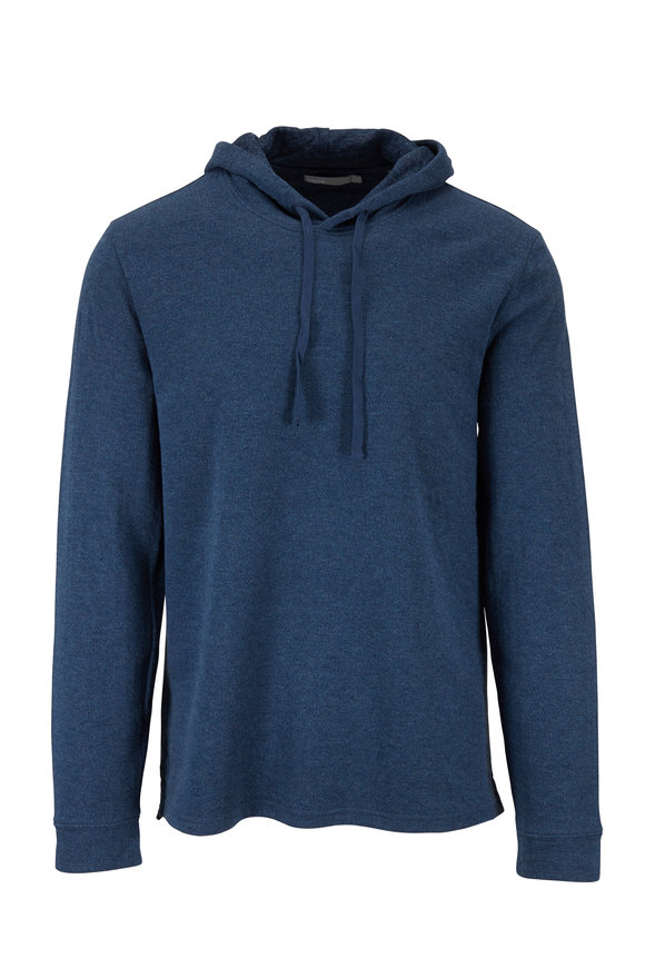 Vince Heather Navy Blue Double Knit Hoodie