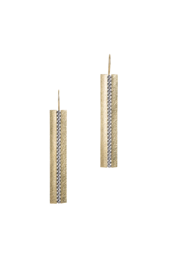 Todd Reed 18K Yellow Gold Diamond Center Stick Earrings