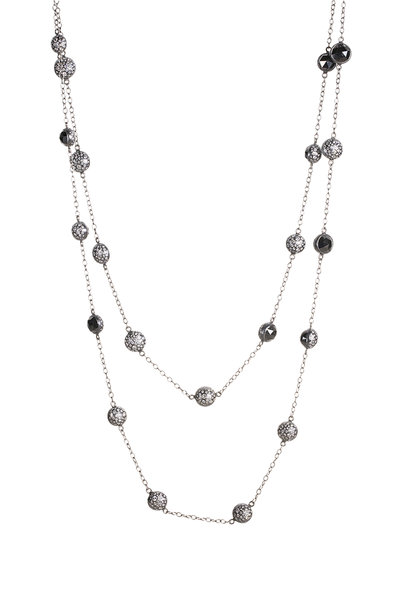 Todd Reed - Palladium Black Diamond Station Chain Necklace