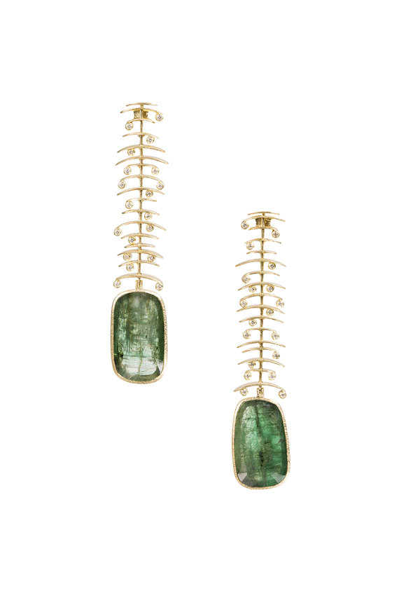 Todd Reed 18K Yellow Gold Emerald Earrings