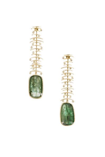 Todd Reed - 18K Yellow Gold Emerald Earrings