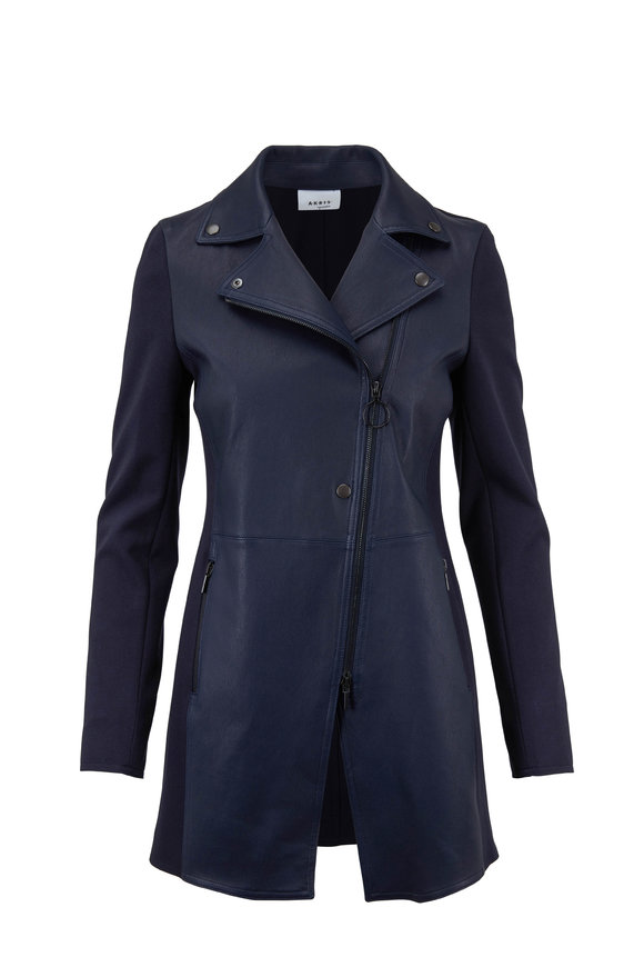 Akris Punto Navy Blue Leather Front Long Moto Jacket