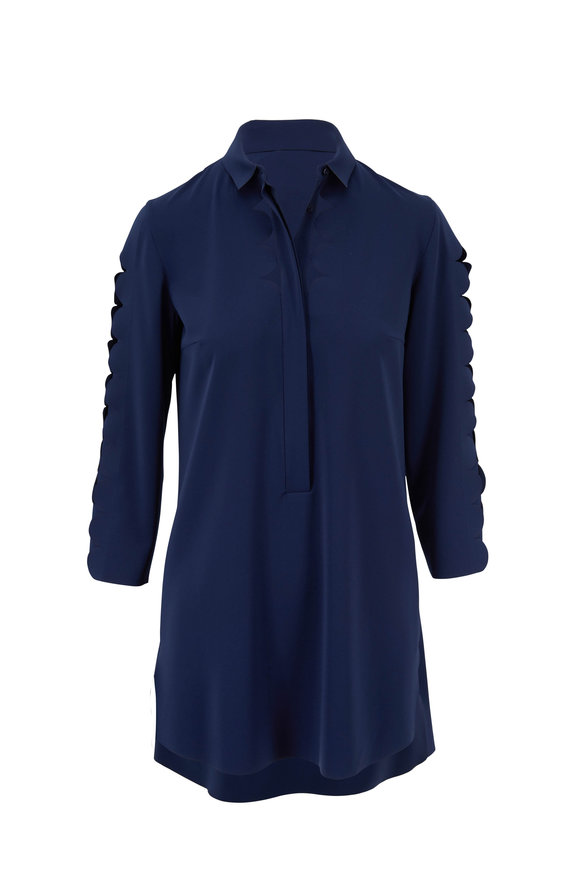 Akris Punto Marine Blue Tunic Blouse