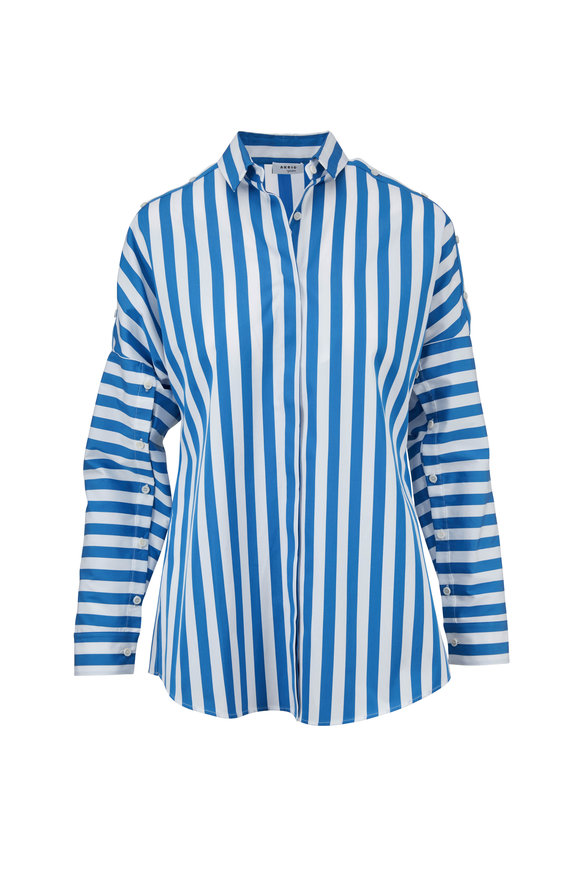 Akris Punto Blue & Cream Striped Button Sleeve Blouse
