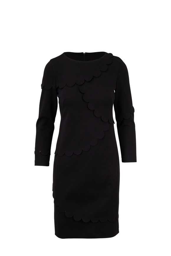 Akris Punto Black Scallop Detail Jersey Dress