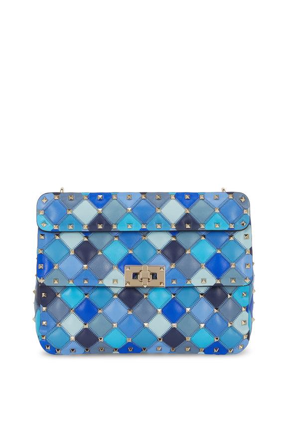 Valentino Garavani Rockstud Spike Blue Angel Quilted Leather Bag