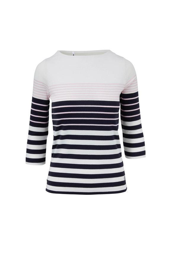 Bogner Jaime Navy, Pink, & White Striped Boatneck Top