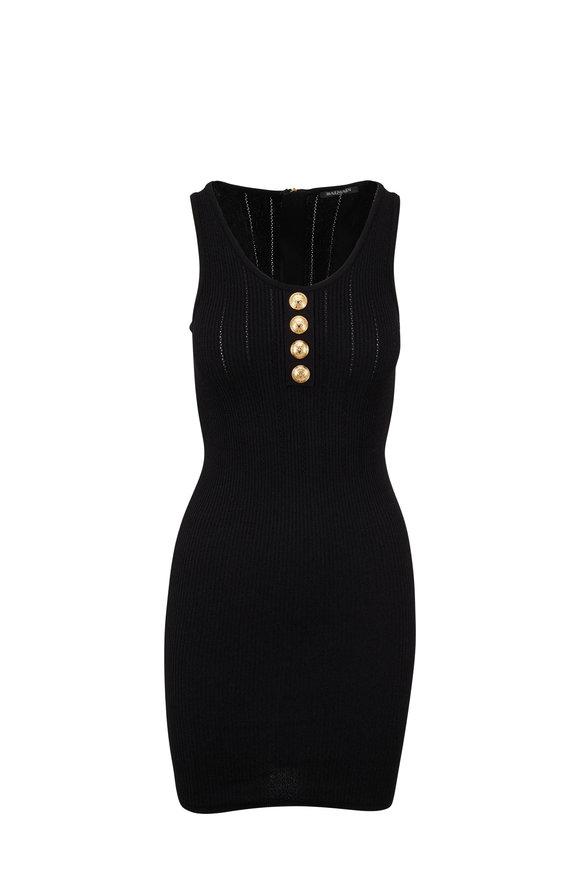 Balmain Black Front Button Mini Dress