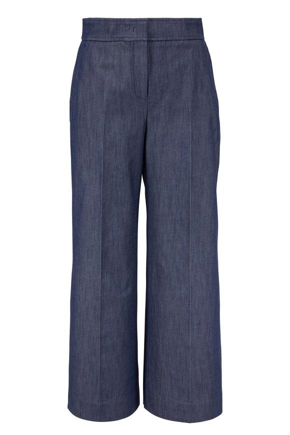 Derek Lam Indigo Cotton Wide Leg Crop Culotte