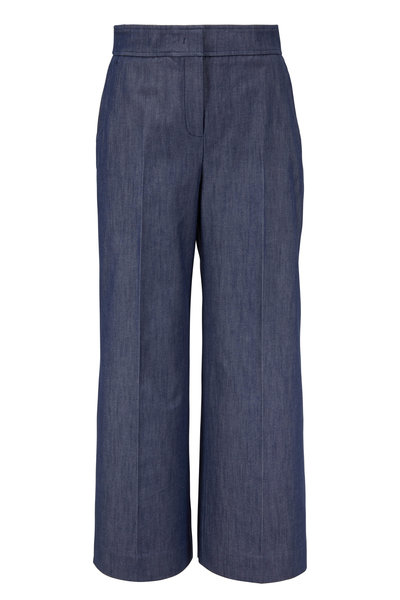Derek Lam - Indigo Cotton Wide Leg Crop Culotte