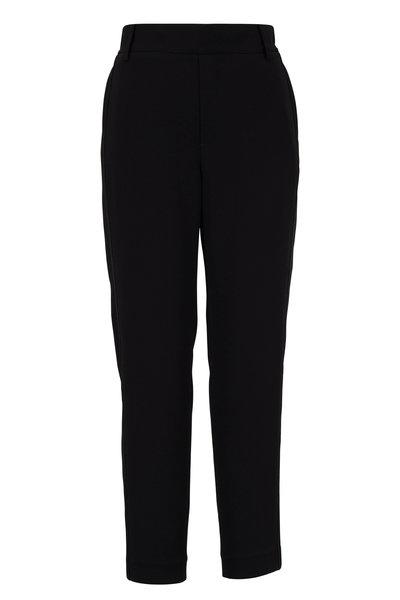 Vince - Black Satin Side Stripe Pull-On Crop Pant