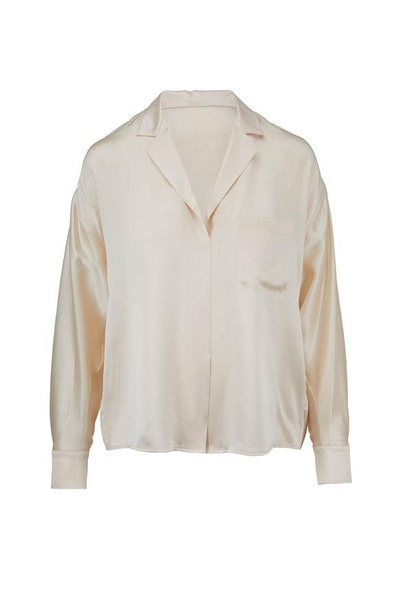 Vince Chiffon Silk-Satin Pajama Popover