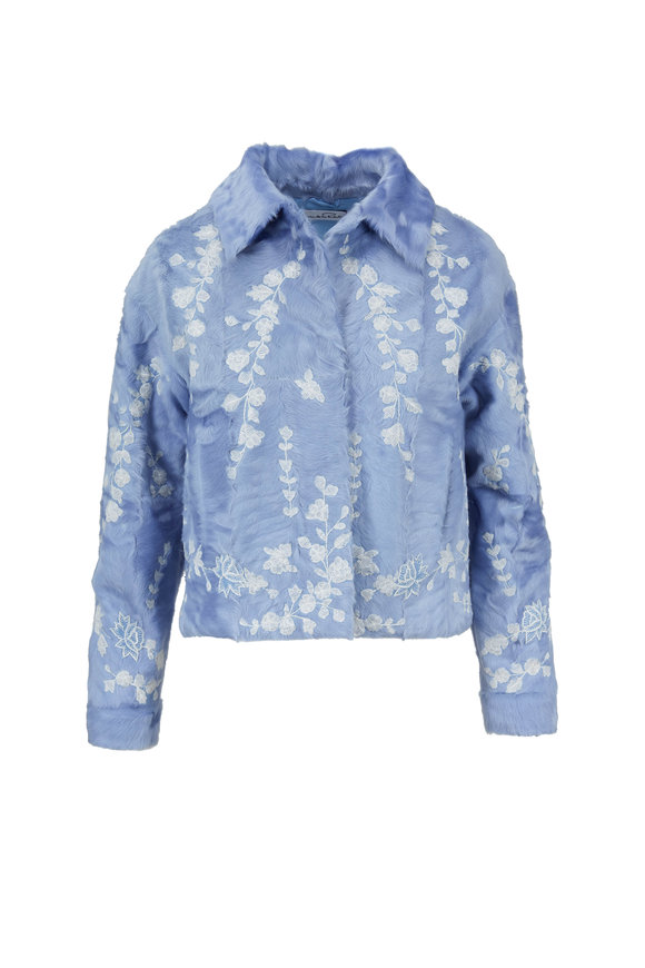 Oscar de la Renta Furs Wedgwood Dyed Chinese Lamb Embroidered Jacket