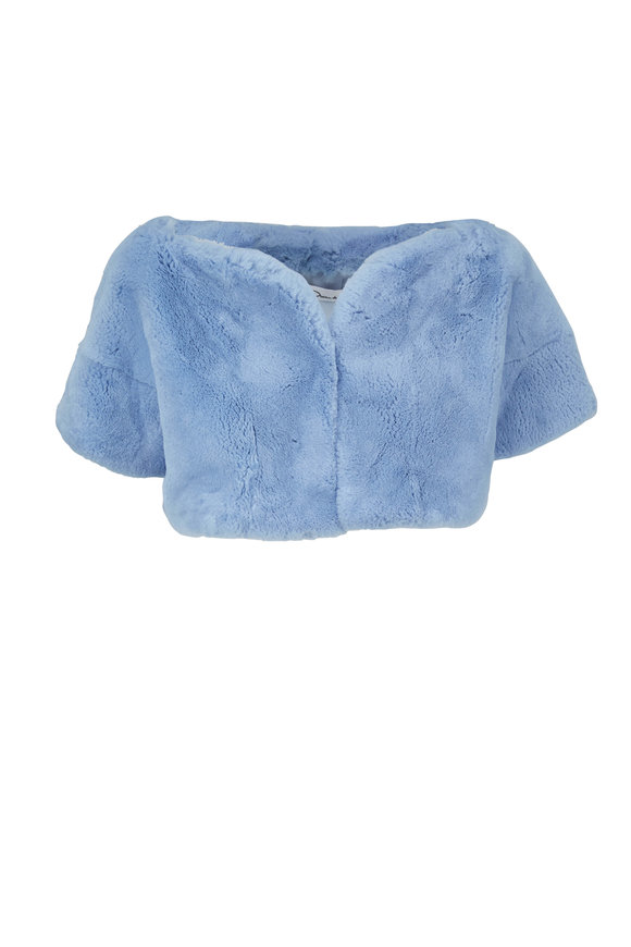 Oscar de la Renta Furs Light Blue Sheared Rabbit Bolero