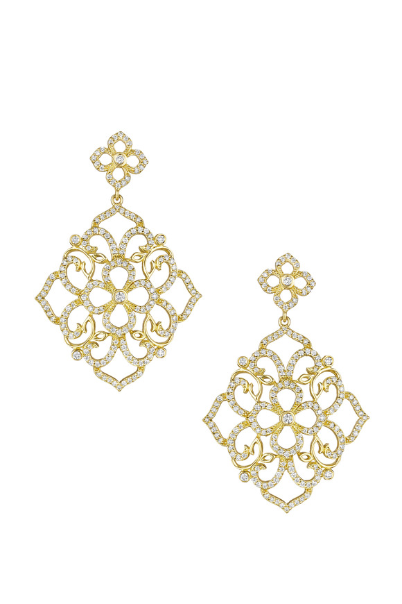 Penny Preville Gold Lace Flower Top Earrings