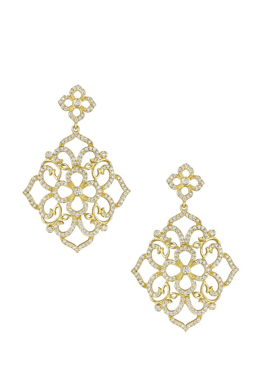 Gold Lace Flower Top Earrings