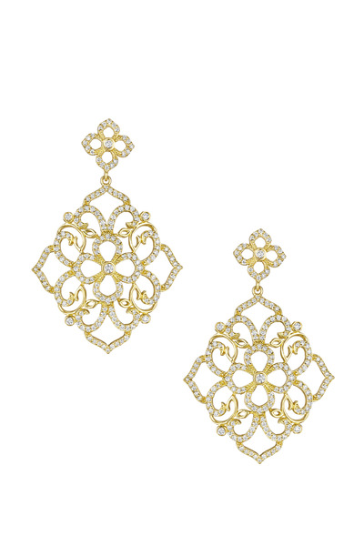 Penny Preville - Gold Lace Flower Top Earrings