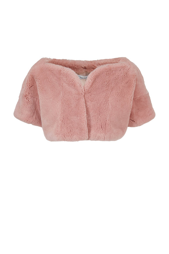 Oscar de la Renta Furs Petal Pink Sheared Rabbit Bolero