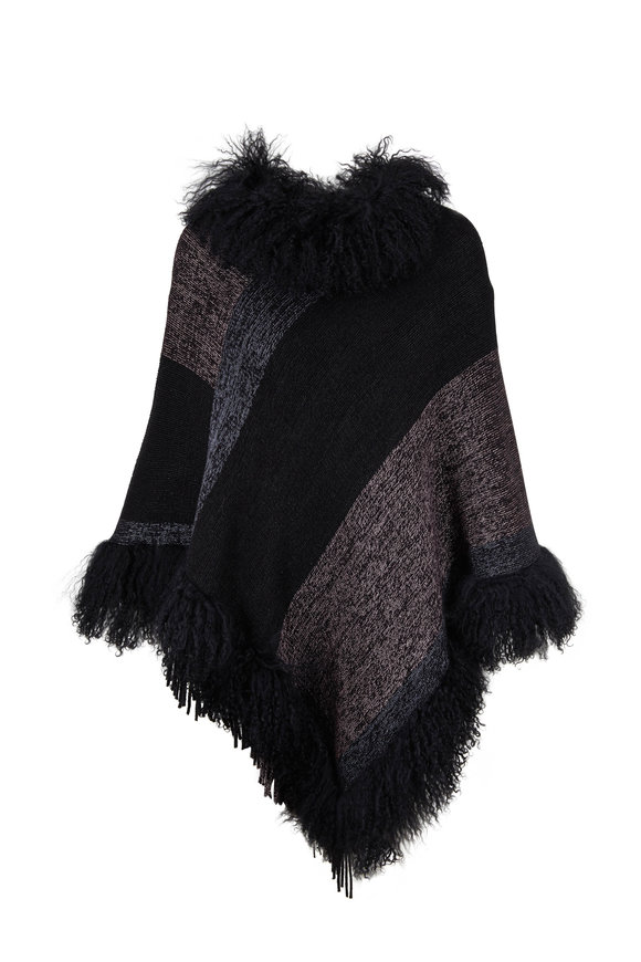 Viktoria Stass Black Lamb Trim Knit Poncho