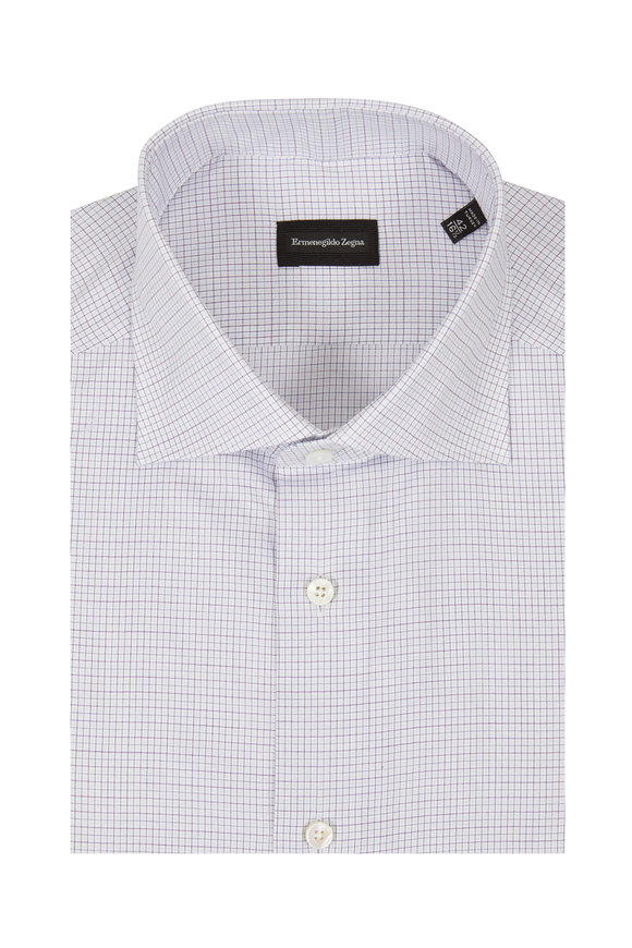 Ermenegildo Zegna Purple & Blue Check Dress Shirt