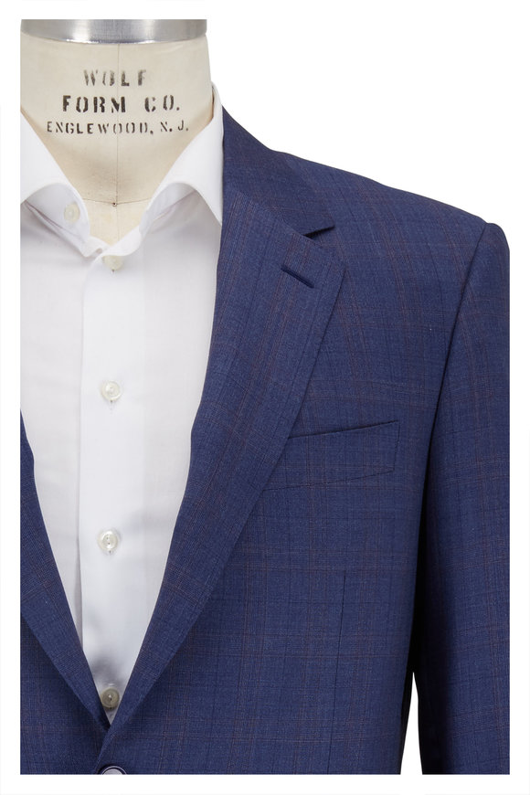 Canali Medium Blue Plaid Wool Suit