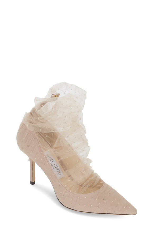 Jimmy Choo Lavish Ballet Pink Glitter Tulle Pump, 85mm