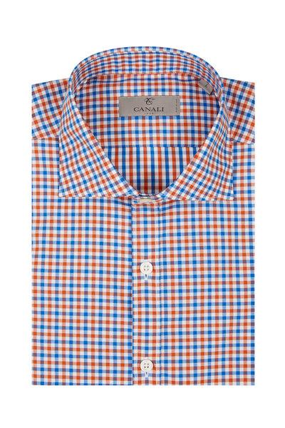 Canali - Blue & Orange Gingham Sport Shirt