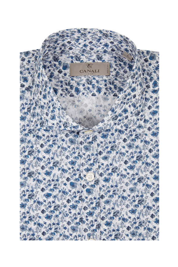 Canali Blue Floral Print Sport Shirt