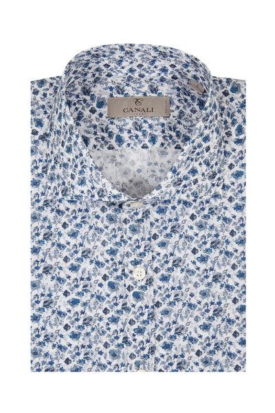 Canali - Blue Floral Print Sport Shirt