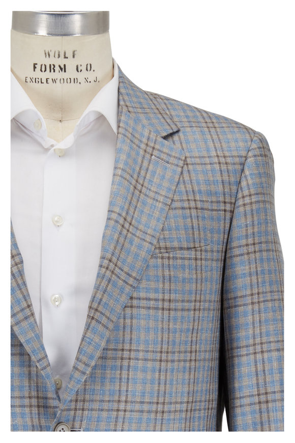 Canali Blue & Brown Plaid Wool, Silk & Linen Sportcoat